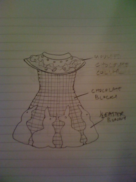 the initial sketch of the dress