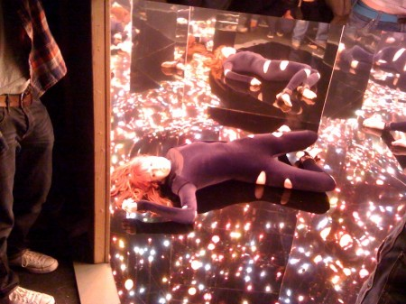 Florence in the infinity room in a Hannah Marshall catsuit