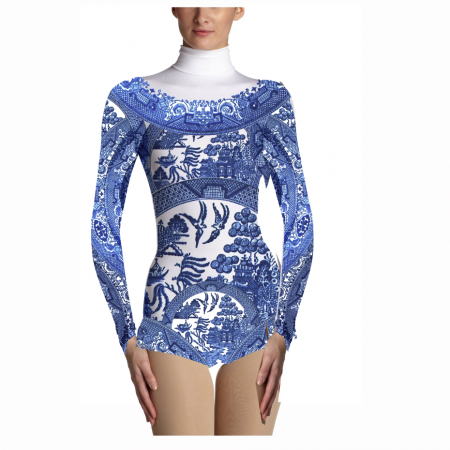 The Willow pattern was then applied to the base costume, but we wanted something with a modern twist.....