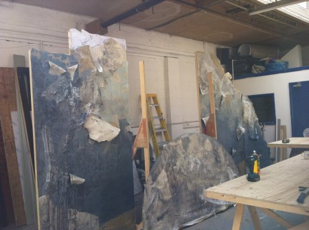 The walls being contructed in the workshop at Mark Griffiths Creative