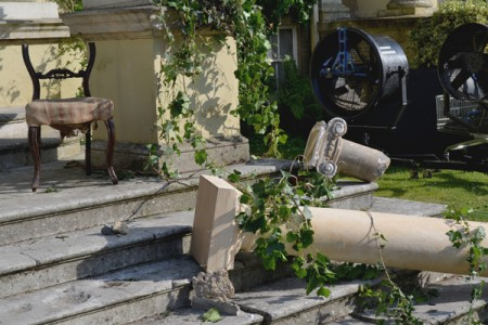 Broken columns and ivy from the front of the house