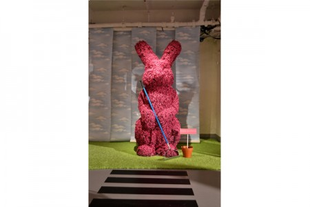 Giant pink topiary bunnies