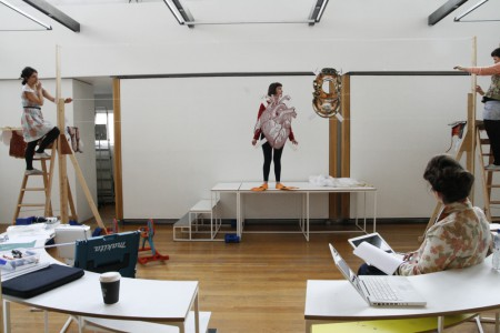 The gallery rehearsal, practicing the radio tuning sound effects with the moving washing line