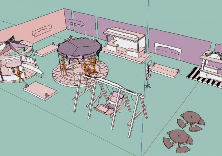 The sketch up model of the room and rides