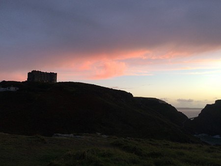 The red sunrise over the castle