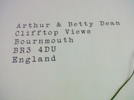 envelope addressed to tash's grandparents